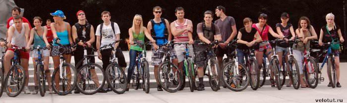 велосипедисты выстроились