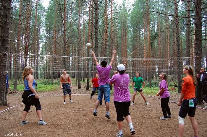 волейбол в лесу