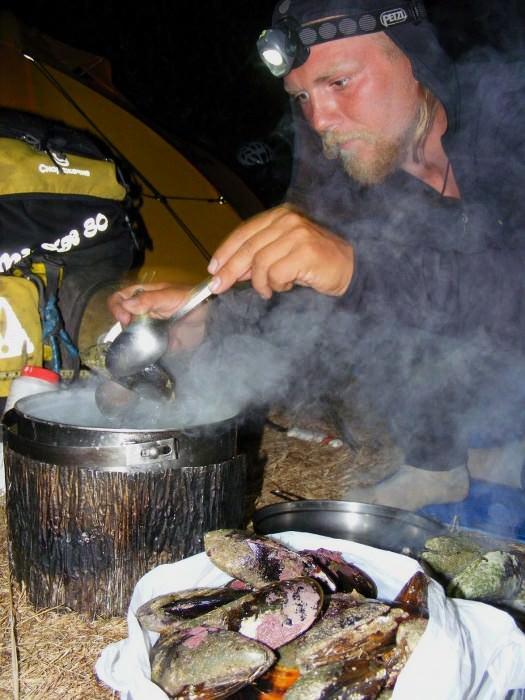 приготовление мидий, Новая Зеландия