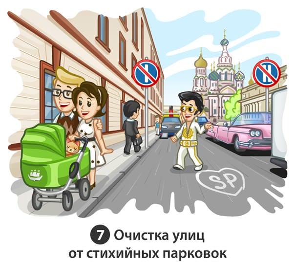 очистка улиц от стихийных парковок