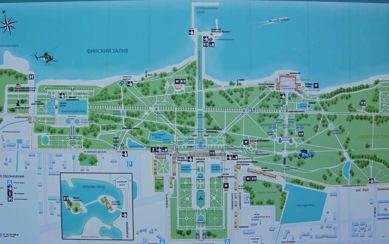карта нижнего парка петергоф