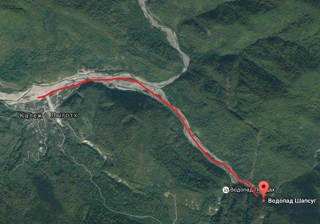 карта водопад шапсуг